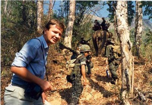 Journalist Andrew Drummond in Karen state of Burma filming 'Burma's Forgotten War' for BBC2 Everyman in 1987