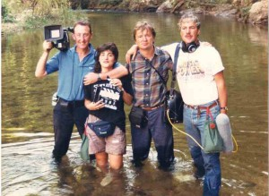 Andrew Drummond, Kimi Zabhiyan with cameraman John and soundman Les in Shan State of Burma 1989 filming 'Lord of the Golden Triangle'.