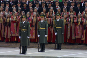 Turkmenistan troops and women in national costume for Turkmenbashi the Great's Birthday Celebrations February 19 2003, Ashgabat, Turkmenistan