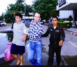 Andrew Gill, 32, taken Chiang Mai Police station Northern Thailand to face charges of conspiracy to murder and rape backpacker Kirsty Jones, in his 'Aree Guest House'. September 14 2000