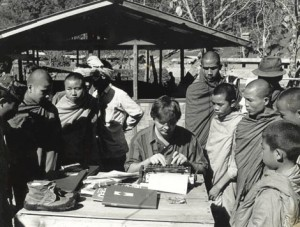 Andrew Drummond with young Buddhist monks filing a story from Homong, headquarters of Khun Sa and Shan rebel army - 1987