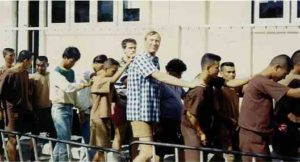 Eric Hollett, former chauffeur to Lorde Grade, in line accused of paedophile offences, Pattaya, Thailand: 1993